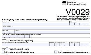 Formular V0029, Deutsche Rentenversicherung, Bestätigung über einen Versicherungsvertrag