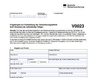 V0023 - um festzustellen, ob Rentenversicherungspflicht bei bestehender Selbständigkeit vorliegt.